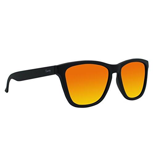 Fancy Eyewear - Schwarz/Gold- Sonnenbrille - Polarisierte Gläser - Herren und Damen - 100% UVA/ UV 400 SCHUTZ - REVO Gläser mit spezieller Technologie für Kratzfestigkeit