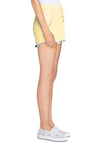 Mini Shorts Kurze Damen amtiere Fluid und leicht BRODEE mit Pompons–Größe elastisch–ct6051–in 2Farben erhältlich: Beige Gelb Gelb