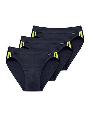Slip Stretch-unterhemd (Schiesser Herren Cotton Stretch Slip, Schwarz (Blauschwarz 001), Medium (erPack 3))