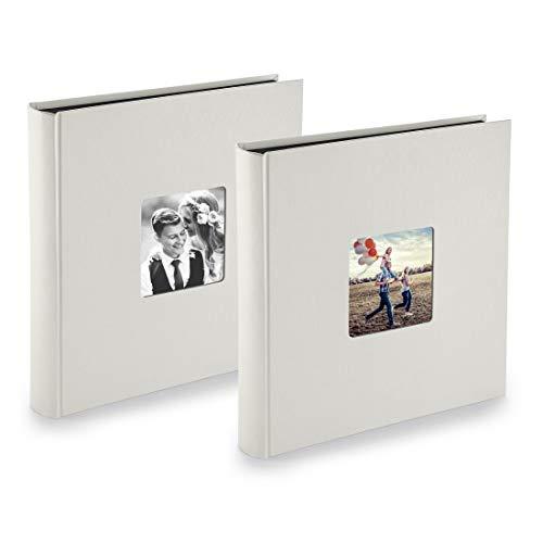 PAZZiMO Album photo craie XXL, lot de 2, collage jusqu'à 400 photos format 10x15, album traditionnel 30x30cm avec papier de protection & couverture épaisse personnalisable