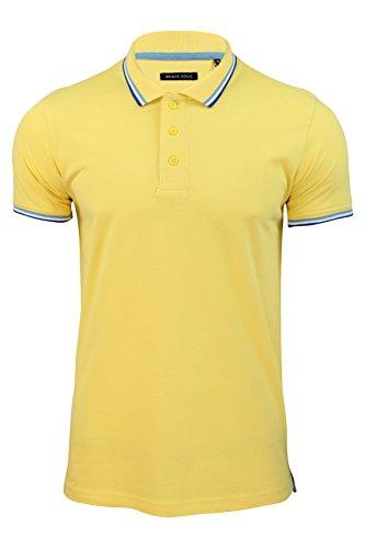 """Brave Soul - Herren T-Shirt """"Warsaw"""" spitzer Kragen kurze Ärmel Weiche gelbe"""