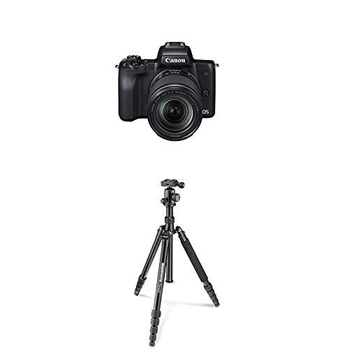 Canon EOS M50 schwarz EF-M 18-150 Kit + Manfrotto Element Traveller Aluminium Kit (groß, verwandelbar in ein Einbeinstativ, inkl. Tragetasche und Spikes, geeignet für Arca Swiss) schwarz