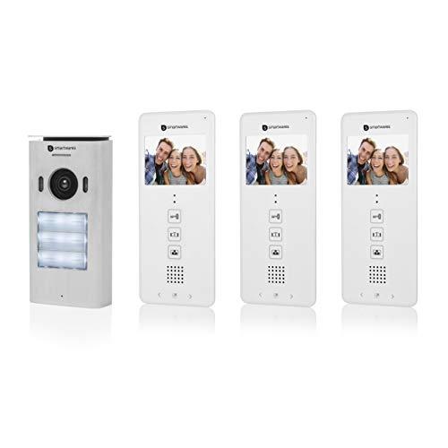 Smartwares DIC-22132 Video-Türeingangskontrolle – 480p – 3,5 Zoll LCD-Monitor – Set für 3 Wohnungen