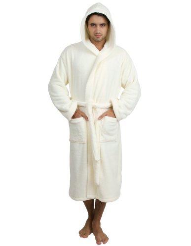 Mens Off White Kleid (TowelSelections Herren Bademantel mit Kapuze, Fleece, hergestellt in der Türkei - Elfenbein - Medium/Large)