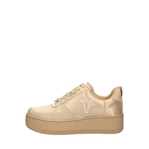 Windsor Smith RACERR Satin, Sneaker Donna Beige