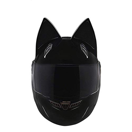 ZXLO Racing Motorradhelm, Cat Ear Motorradhelme, Flip-Up Doppel Visiere Full Face Helm, Modulare Helm, Full Face Motorradhelme,Black,L