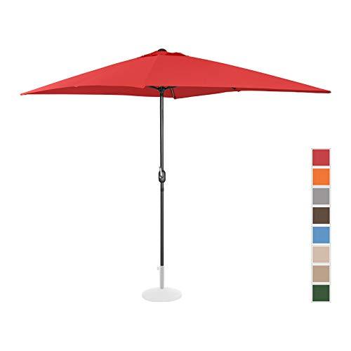 Uniprodo Parasol De Terrasse Droit Grand Jardin Protection Solaire UNI_Umbrella_SQ2030RE (Rouge, Rectangulaire, 200 x 300 Cm, Acier, Alu, Polyester Haute Densité 180g/m2)