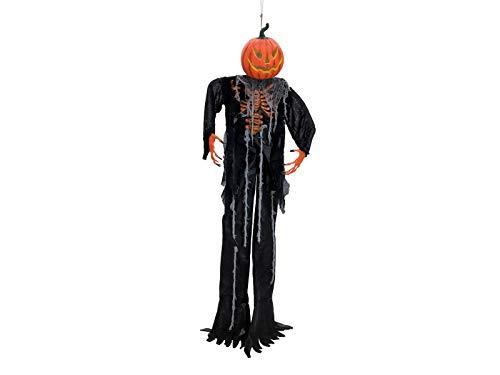 EUROPALMS Halloween Figur Kürbis-Geist | Geschnitzter Kürbis ALS Halb-Skelett-Hängefigur | Farbwechselnde LED im Inneren des Kürbiskopfes | Betrieb über DREI 1,5-V Batterien, Typ LR44 | Höhe 200 cm