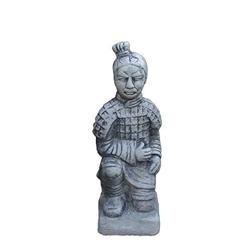 gartendekoparadies.de Kleiner chinesischer Terrakotta Krieger Motiv IV von IV aus Steinguss frostfest