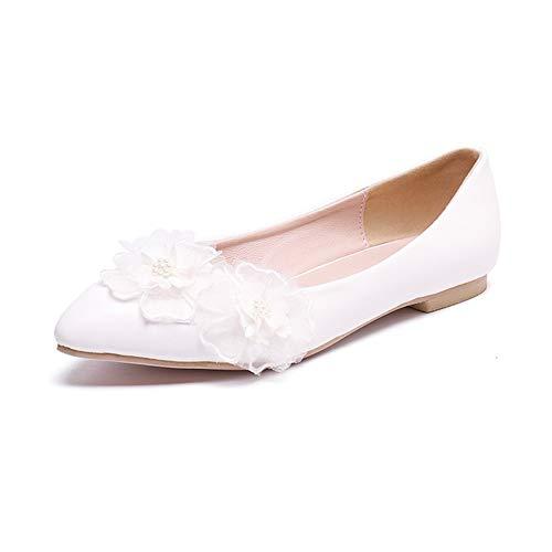 ZXYYUE Damen Brautschuhe Lace PU Hochzeit Schuhe Tanzschuhe Braut Brautjungfern Wohnungen Low Heel Pumpe,White,42