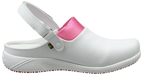 Oxypas Move Doria Slip-resistant, Antistatic Leather Nursing Clogs with Coolmax Lining, 5.5 UK (39 EU) Bianco (Fux)