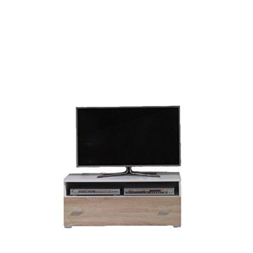 Mirjan24  Outlet !! TV Lowboard Werto 6, Fernsehtisch, TV Board, TV Bank, TV-Tisch, TV Schrank, TV-Möbel (Weiß/Eiche Sonoma)