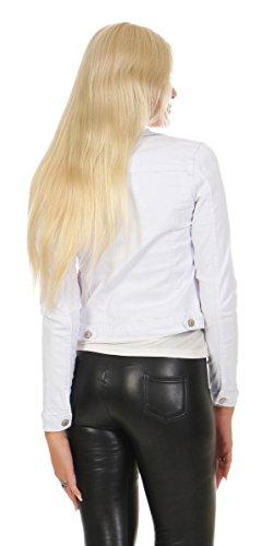 11351 Fashion4Young Damen Jeans Jacke Damenjacke Jeansjacke Kurze Jacke Stretch-Denim Weiß