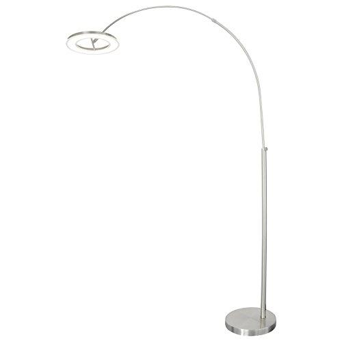 LED Design Bogenleuchte Stehleuchte Designlampe Nickel Matt - 3000 Kelvin warmweißes Licht - leistbarer Luxus für traumhaftes Ambiente