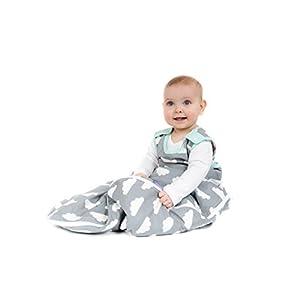Saco de dormir para bebés de 6 a 18 meses, de la marca Babasac. Diseño de nubes, color gris y turquesa
