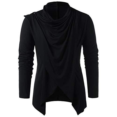 Bluse Herbst Frühling Vintage Einfarbige Knopfe Asymmetrisch Saum Oberteile Langarmshirt Falten Cardigan Freizeit Lose T Shirt Top für Männer ()