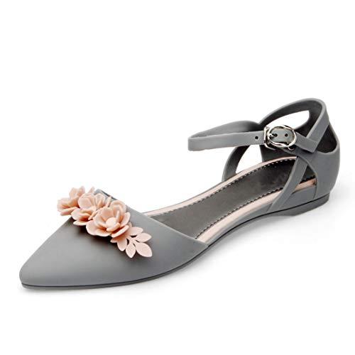 ddad51b7c Sandalias Planas de Flor para Mujer Punta Estrecha Hebilla Correa de  Tobillo Resbalón en los Zapatos