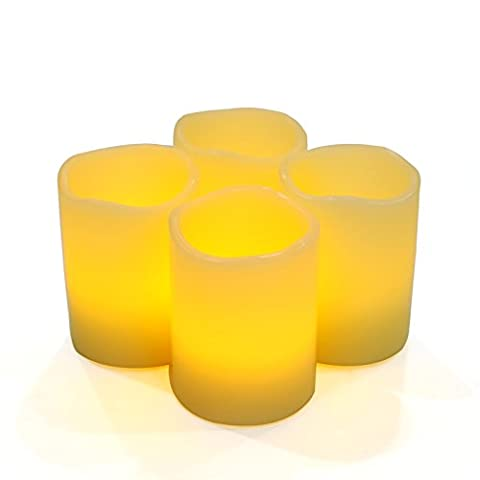 Songmics 4er-Set flammenlose LED Kerzen aus echtem Wachs Timer elfenbeinfarben GLC50X