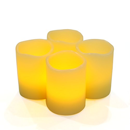 SONGMICS Set of 4 Real Wax Flameless LED Candles with Timer Ivory GLC50X