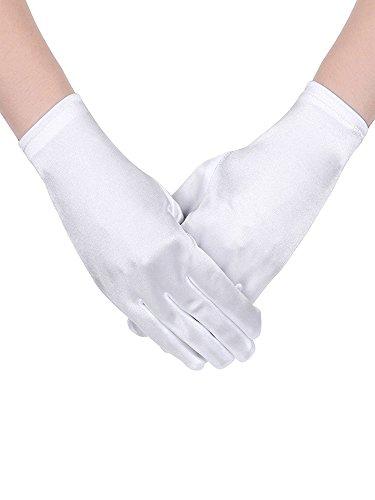 Sumind corto guanto di raso guanti da polso lunghezza guanti donna abito guanti opera matrimonio banchetto abito per la festa di ballo (bianco)
