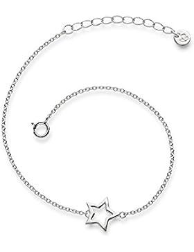 Glanzstücke München Damen-Armband Stern Sterling Silber 17 + 3 cm - Silber-Armkettchen Freundschaftsarmbänder...