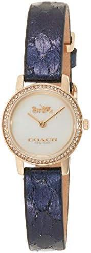 Coach Women's White Mother Of Pearl Dial Navy Calfskin Watch - 1450