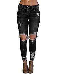 Aleumdr Femme Jean Déchirés Trous Pantalon Jeggings Stretch à Taille Haute  Coupe Slim en Denim Elastique c9f1cf7c0921