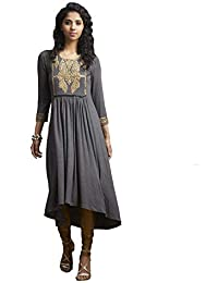 Ritu Kumar Women's Viscose Churidar With Kurta (2PCHVL30SX20D26N16686721__Grey)