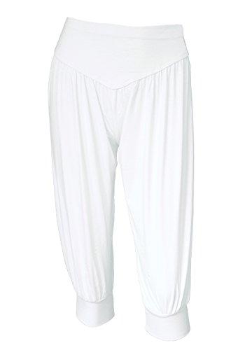 BeautyWill Yogahose/Laufhose/Jogginghose Fitness-Hose Hose in 3/4-Länge für Damen - für Sport und Training aus 95% Modal, L, Weiß, L, Farbe: Weiß (Weiße Yoga-hose)