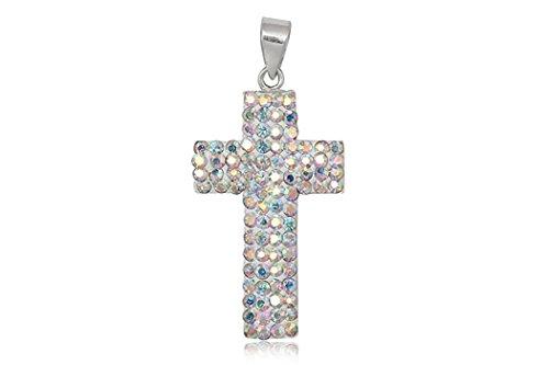 EYS JEWELRY® Damen-Anhänger Kreuz 36 x 19 mm Preciosa Elements Glitzer Kristalle 925 Sterling Silber AB weiß im Etui Damenanhänger