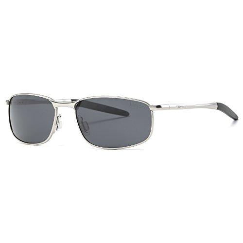 kimorn Polarisierte Sonnenbrille Herren Retro Rechteckig Rahmen Klassisch Unisex Gläser K0535 (Silber&Schwarz)