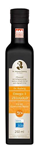 Dr. Budwig Omega-3 Zellgold - Das Original - Abgestimmt auf den erhöhten Nährstoffbedarf der Generation 50plus. Reduziert nachweislich den erhöhten LDL-Cholesterinspiegel - Für die Generation 50plus, 250 ml