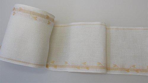 Meterware Leinenband mit Herzchen 14 cm breit zum Sticken, Preis pro 10 cm Länge (Kreuzstich-leinen-stoff)