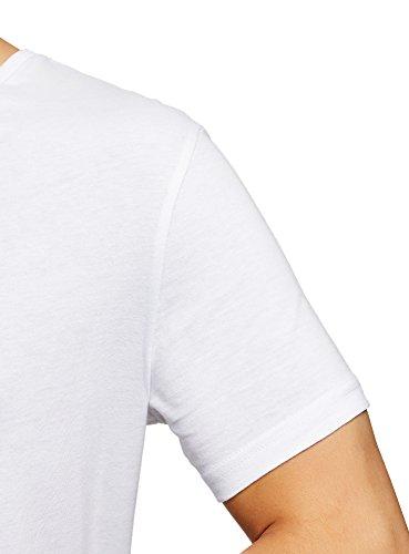 oodji Ultra Herren T-Shirt Basic (3er-Pack) Weiß (1000N)