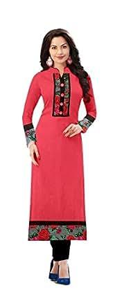 Lovisa Fashion Women's Cotton Kurta (P01 _Pink _Free Size)