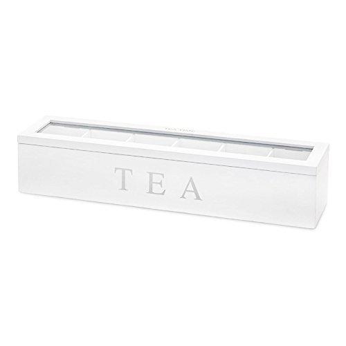 Schmale Teebox in Weiß, 6 Teebeutelkammern, Sichtfenster