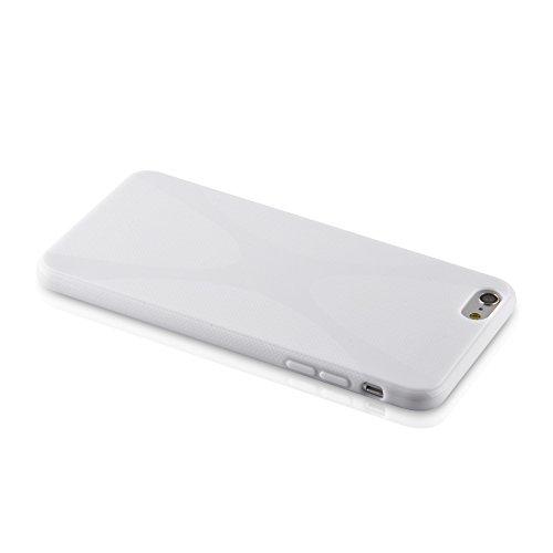"""Cadorabo - Housse Gel (silicone) design """"X"""" pour Apple iPhone 6 PLUS - Etui Coque Case Cover Bumper en BLANC BLANC"""