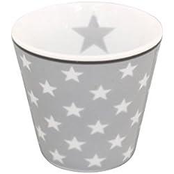 Krasilnikoff Espresso Becher hellgrau Sterne weiß Porzellan