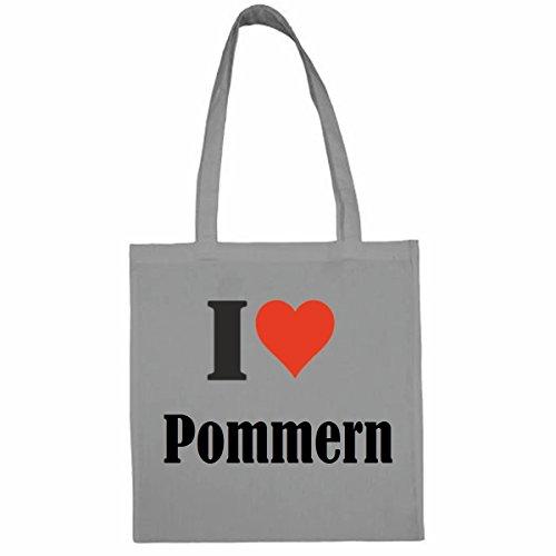 Tasche I Love Pommern Größe 38x42 Farbe Grau Druck Schwarz -
