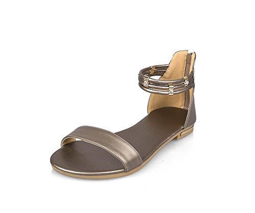 AllhqFashion Damen Ohne Absatz Weiches Material Rein Rei脽verschluss Offener Zehe Flache Sandalen Golden