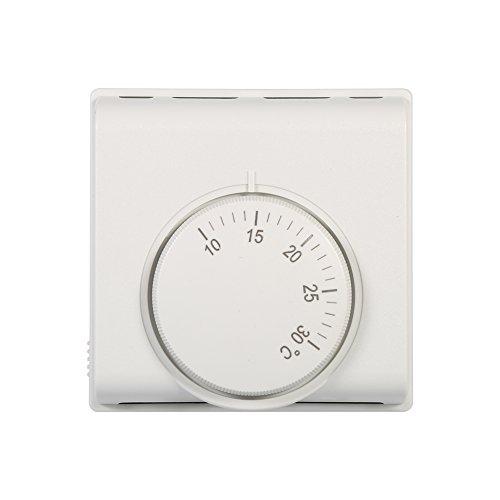 Mechanischer Temperaturregler Thermostatschalter 6A Einstellbarer Thermostat Temperaturregler, Weiß 220V 10-30 ° C -