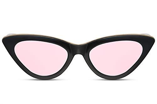 Cheapass Sonnenbrille Cat-Eye Schwarz Pink Verspiegelt UV-400 Schmal-e Katzenauge Designer-Brille Plastik Damen