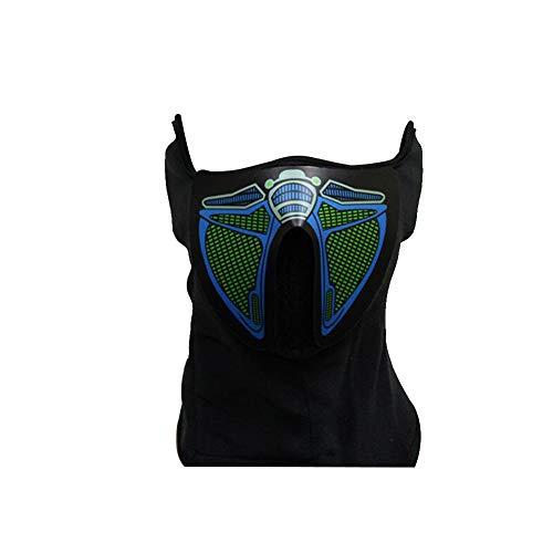 Controlled Sound Luminous Mask Musik LED leuchtet Rave Maske mit EL Ton Actived Flashing Luminous Kühlen Partei-Masken-Halloween-Fluoreszenz-Batterie-Maske Nicht enthalten