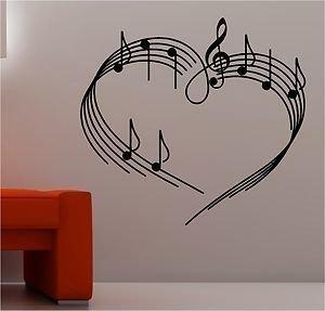 Online Design Música Notas como Corazón Pared Pegatina