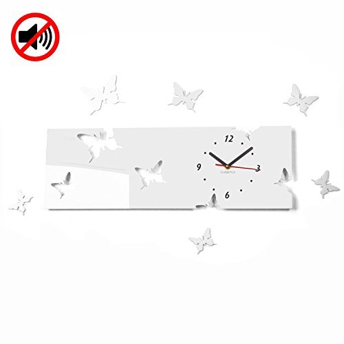 Grande horloge murale salon moderne papillon Horizontal Blanc Déco Silencieux 20 x 60 cm