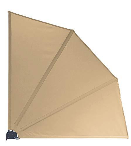 QUICK STAR Sichtschutz Fächer 115 x 115 cm Stoff Balkon Trennwand Windschutz Sonnenschutz Sand