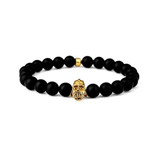 nyuk Mens Scrub cavaliere nero Hip Hop energia naturale agata pietra perline braccialetto, Lega, colore: Big Size, cod. W-1805 - Pink Ribbon Dog Tag