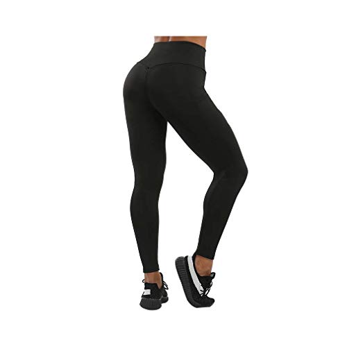 aoliaoyudonggha Women Solid High Waist Pocket Push Up Fitness Leggings Mujer Elastic Wrinkle Workout Pant -