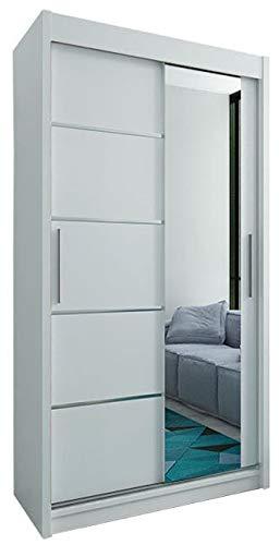 Kryspol Schwebetürenschrank Verona 2-100 cm mit Spiegel Kleiderschrank mit Kleiderstange und Einlegeboden Schlafzimmer- Wohnzimmerschrank Schiebetüren Modern Design (Weiß) -