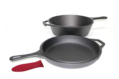 Pinnacle Cookware – Pre-Seasoned Cast Iron 2-In-1 Combo Cooker Cookware Set, 3 litre / 3.2 quart Heavy Duty Dutch Oven with 10.25inch / 26cm Skillet Lid, Use As Casserole Dish and Frying Pan, for Gas / Electric / Induction Hobs, Oven Safe, Perfect for Ind